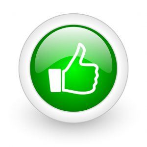 thumb up green circle glossy web icon on white background
